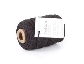 Cotton Cord / Katoen touw 50 meter zwart ø2mm