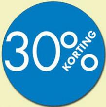 Kortingsticker rond 30mm 250 stuks 30% blauw