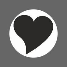 Etiket / Sticker wit met zwart hart 500 stuks