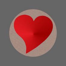 Etiket / Sticker hart kraft met rood metallic 500 stuks
