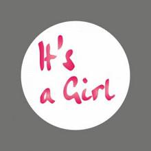 Etiket / Sticker   wit-roze 'It's a girl ' 500 stuks