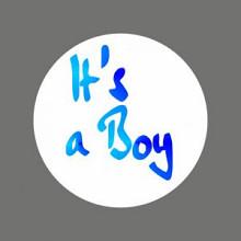 Etiket / Sticker   wit-blauw 'It's a boy ' 500 stuks