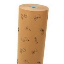 Rol papier 60cm bruin kraft 50 grams Flowers zwart  circa 12 kilo