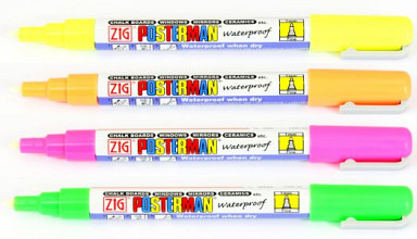 Krijtstift posterman PMA-30 medium punt 2mm fluor geel