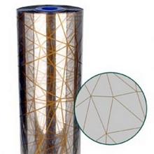 Folie rol opp30mu 60cm x 300mtr transparant met gouden geometrische vlakken