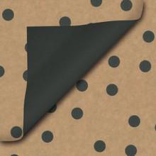 Cadeaupapier 50cm kraft dessin 112 bruinkraft met dots zwart