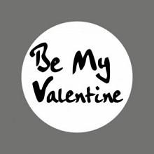 Etiket / Sticker   wit-zwart 'Be My Valentine' 500 stuks