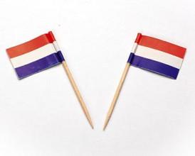 Cocktailprikker Nederlandse vlag 50 stuks !