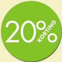 Kortingsticker rond 18mm 1000 stuks 20% groen