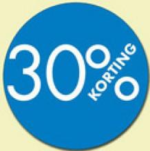 Kortingsticker rond 18mm 1000 stuks 30% blauw