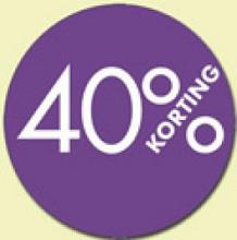 Kortingsticker rond 18mm 1000 stuks 40% paars