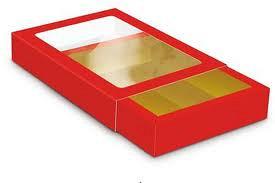 Chocolade letter doos gk1 150x110x25mm rood 50 stuks