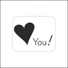 Etiket / Sticker wit-zwart  hart 'love you' 500 stuks