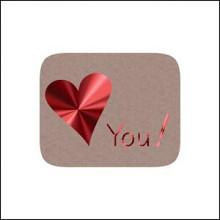Etiket / Sticker kraft-rood hart 'love you' 500 stuks