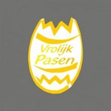 Etiket / Sticker Pasen wit-geel-goud 'vrolijk pasen' 500 stuks