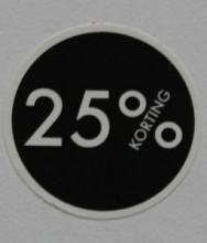 Kortingsticker rond 18mm 1000 stuks 25% zwart