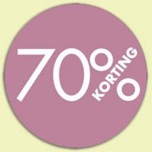 Kortingsticker rond 18mm 1000 stuks 70% roze