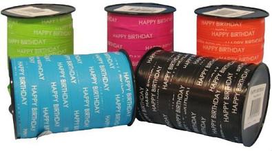 Krullint Paperlook 10mm x 250 meter kleur 02 zwart happy birthday