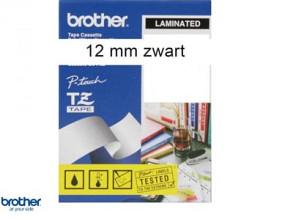 Brother tape 12mm zwart op wit tze - S231 Extra kleefkracht