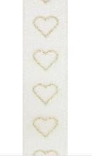 Lint valentijn glittering hearts goud 15m x 25mm