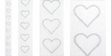 Lint valentijn glittering hearts zilver 15m x 25mm