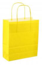 Papieren koordtas 18x08x22cm 50st fel geel
