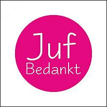 Etiket / Sticker fluor roze  'Juf bedankt' 500 stuks
