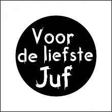Etiket / Sticker   zwart -wit  'Voor de liefste Juf' 500 stuks