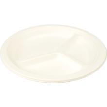 Biodore® Bord van Suikerrietpulp rond 260mm  3-vaks wit 50 stuks