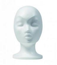 Etalage pruikenkop dame/ Styropor vrouwenhoofd wit
