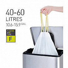 Afvalzak EKO met  trekband 40-60 liter type F wit