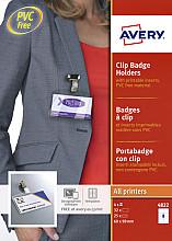 Badge Avery met clip 4822 60x90mm 25 stuks + 32 insteekkaarten