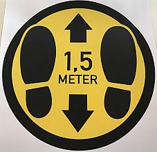 ( Corona) slijtvast vloer vinyl:  rond 30 cm  VOETEN - 1.5 METER AFSTAND  geel- zwart