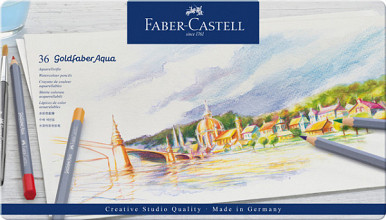 Kleurpotloden Faber Castell Goldfaber aquarel blik à 36 stuks assorti