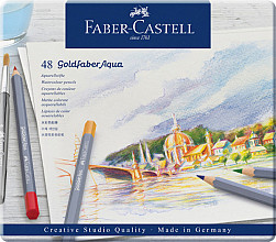 Kleurpotloden Faber Castell Goldfaber aquarel blik à 48 stuks assorti