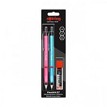 Vulpotlood rOtring Visuclick 2B 0.7mm blister à 2 stuks assorti + extra potloodstiften