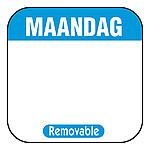 Daglabel beschrijfbaar afm. 25x25mm 1000 stuks etiket MAANDAG
