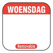 Daglabel beschrijfbaar afm. 25x25mm 1000 stuks etiket WOENSDAG