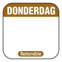 Daglabel beschrijfbaar afm. 25x25mm 1000 stuks etiket DONDERDAG