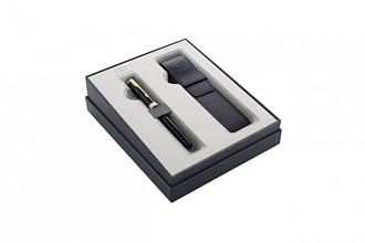 Cadeauset Parker vulpen Sonnet Black Lacquer GT M met pennenetui