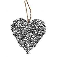 hangertje hart bubbles 7x8cm zilver aan touw 16cm  24 stuks