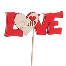 bijsteker Love + hartje 6.5x2.5cm op 20cm stok rood wit 24 stuks
