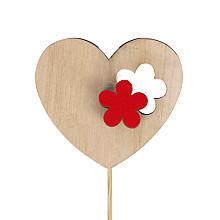 bijsteker hart bloem hout 6x7cm op 12cm stok rood 24 stuks