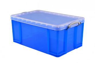 Opbergbox Really Useful 64 liter 710x440x310 mm transparant blauw