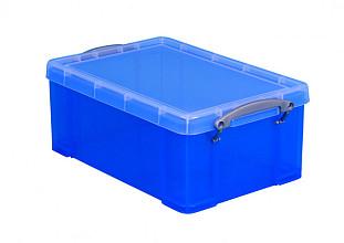 Opbergbox Really Useful 9 liter 395x210x140 mm transparant blauw
