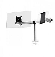 Monitorarm Durable met bladdoorvoer voor 1 scherm en 1 tablet