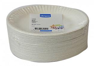 Bord biologisch afbreekbaar karton 150mm wit 100 stuks
