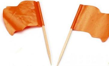 Cocktailprikker + oranje vlag wapperend 5x144