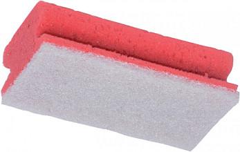Schuurspons rood/wit met greep 7x14cm 10 stuks
