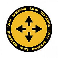 Vloersticker Metafas kruispunt twee-talig Ø20cm geel